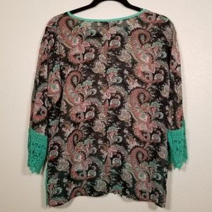 Umgee Tops - 3/$20 UMGEE Paisley Floral Crochet Popover Top S